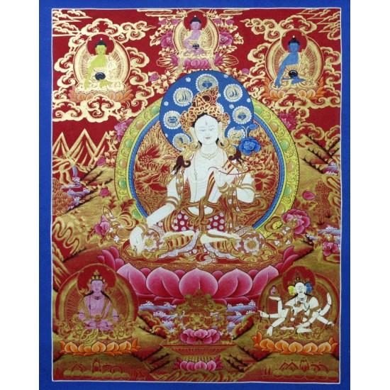 "White Tara Tibetan Thangka Painting 20"" W x 26"" H"