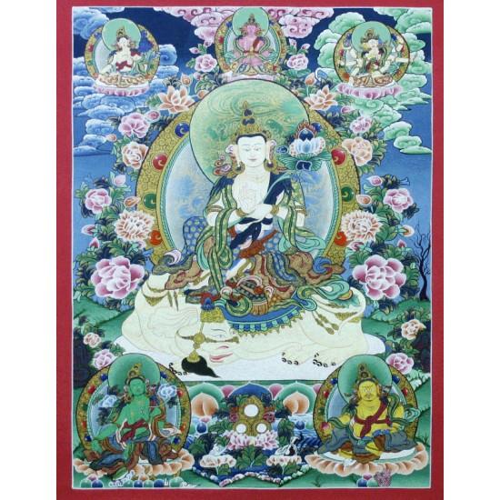 "Khacheri Tibetan Thangka Painting  20"" W x 26.5"" H"