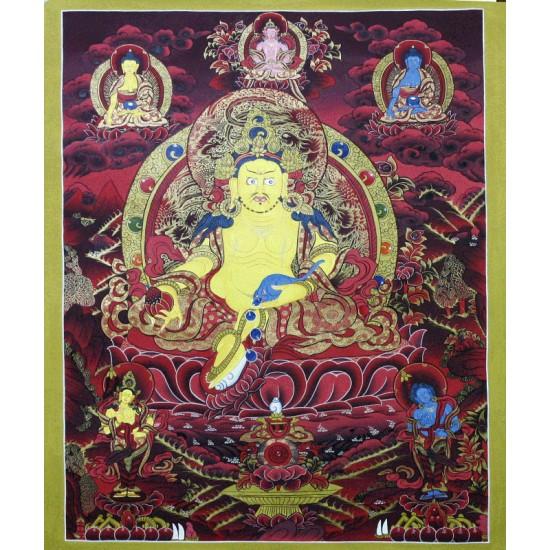 """Kuber Tibetan Thangka Painting 21"""" W x 27"""" H"""