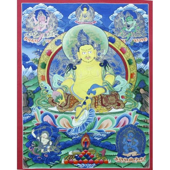 """Kuber Tibetan Thangka Painting 19.5"""" W x 26.5"""" H"""
