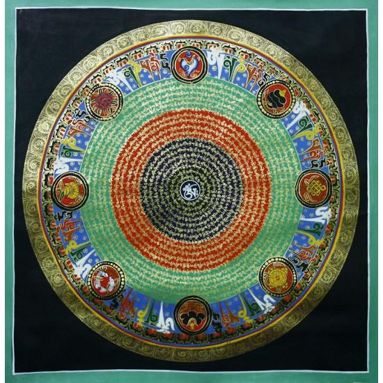 """Mantra Mandala Tibetan Thangka Painting 30"""" W x 30"""" H"""