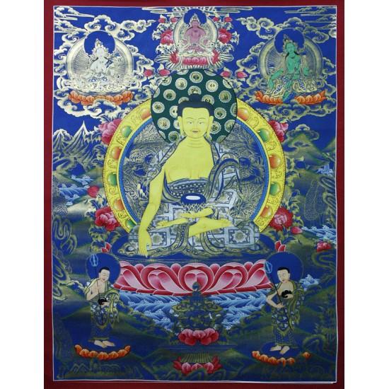 "Shakyamuni Buddha Tibetan Thangka Painting 32"" W x 42"" H"