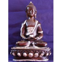 "Shakymuni Buddha Antique Statue 9"" W x 13"" H x 6.5"" D Handmade Nepal"