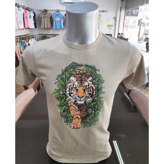 Tiger in Jungle Printed T-shirt  Made in Nepal