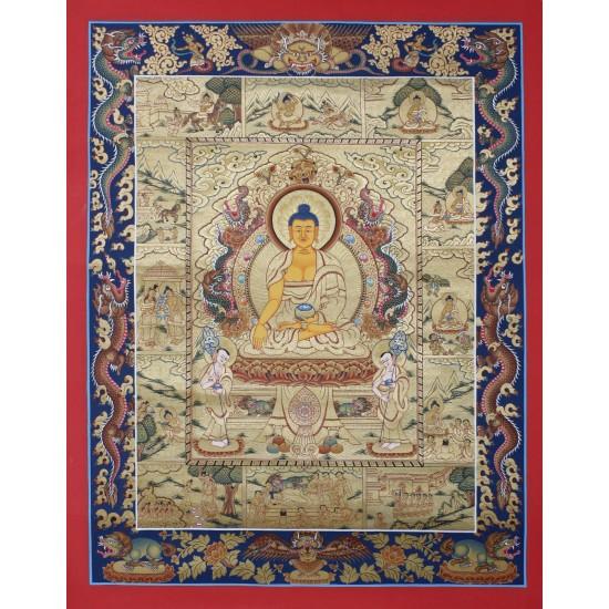 "Shakyamuni Buddha Tibetan Thangka Painting 23"" W x 30"" H"