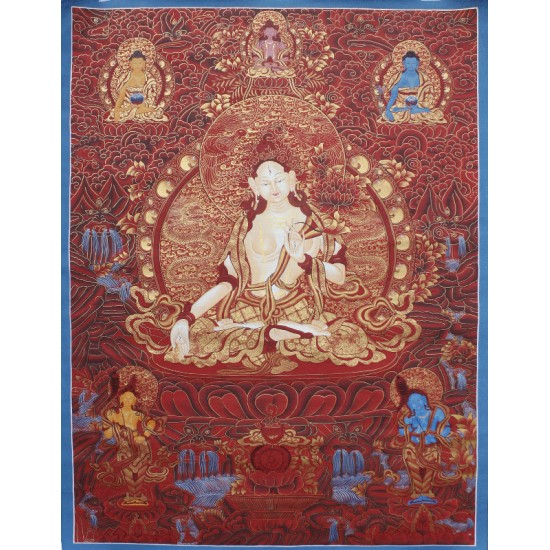"White Tara Tibetan Thangka Painting 45"" W x 63""H"