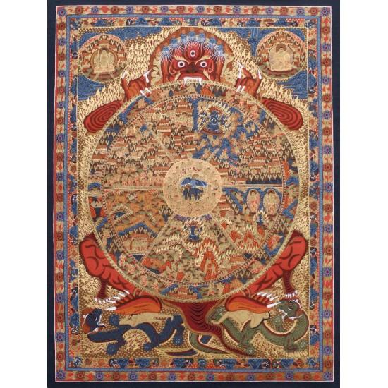 """Wheel Of Life Tibetan Thangka Painting 36"""" W x 49"""" H"""