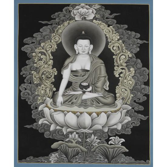 "Shakyamuni Buddha Tibetan Thangka Painting 20.5"" W x 26"" H"