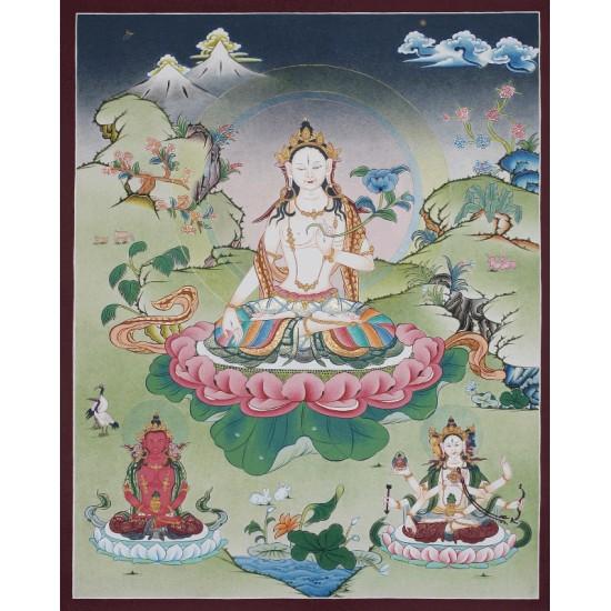 """White Tara Tibetan Thangka Painting 21""""Wx 27""""H"""