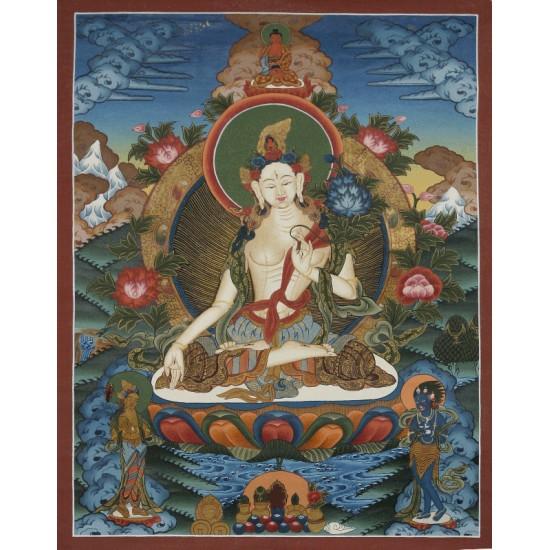 "White Tara Tibetan Thangka Painting 18""W x 24""H"