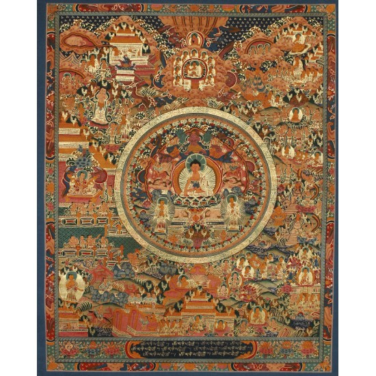 "Life Of Buddha Tibetan Thangka Painting 20"" W x 26"" H"