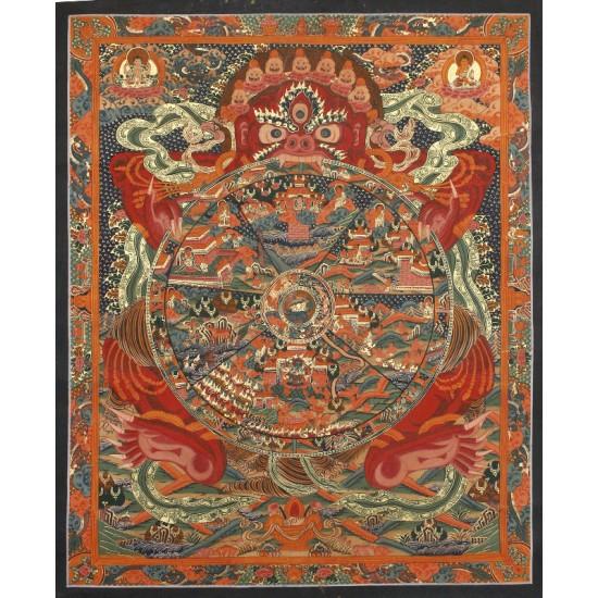 """Wheel of Life Tibetan Thangka Painting 20.5"""" W x 26.5"""" H"""