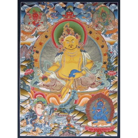 """Kuber Tibetan Thangka Painting 27"""" W x 38"""" H"""