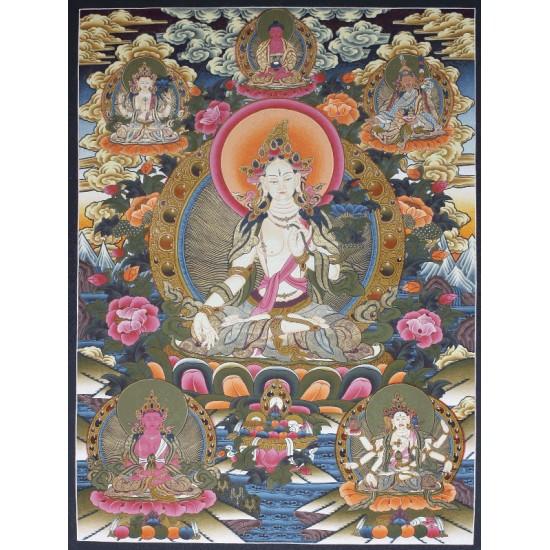 "White Tara Tibetan Thangka Painting 27"" W x 38"" H"