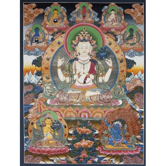 "Khacheri Tibetan Thangka Painting 28"" W x 38"" H"