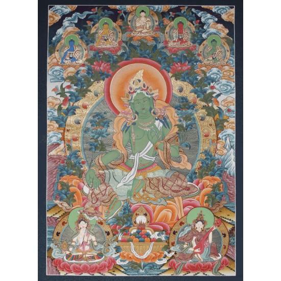 """Green Tara Tibetan Thangka Painting 27"""" W x 38"""" H"""