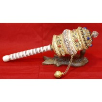 "Bone Prayer Wheel 10""W x 13""H"
