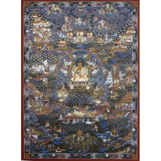 "Life Of Buddha Tibetan Thangka Painting 25.5""W x 35.5""H"
