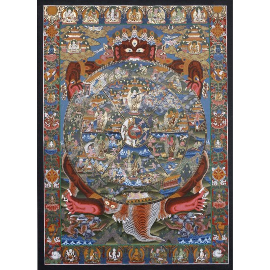 "Wheel of Life Tibetan Thangka Painting  25""W x 34.5""H"