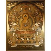 "Shakyamuni Buddha Tibebtan Thangka Painting 40""W x 52""H"