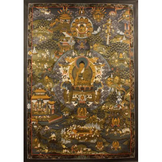 "Life Of Buddha Tibetan Thangka Painting 39""W x 54""H"