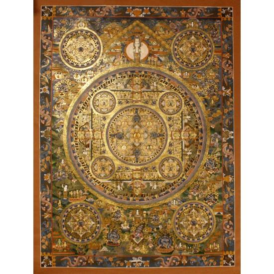 """Mandala Tibetan Thangka Painting 35""""W x 50""""H"""