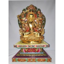 "Manjushree full gold statue 6"" W x 9"" H x 4.5"" D"