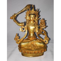 "Manjushree Full Gold Statue 4"" W x 6"" H x 3"" D"