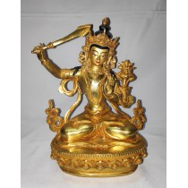 "Manjushree Full Gold Statue 7"" W x 9.5"" H x 5"" D"