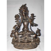 "White Tara Antique Statue 7"" W x 10"" H x 5"" D"