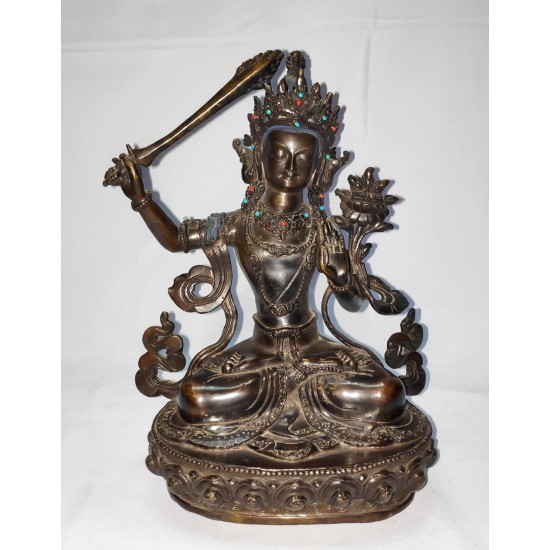 "Manjushree Antique Design Statue 6"" W x 8"" H x 4"" D"