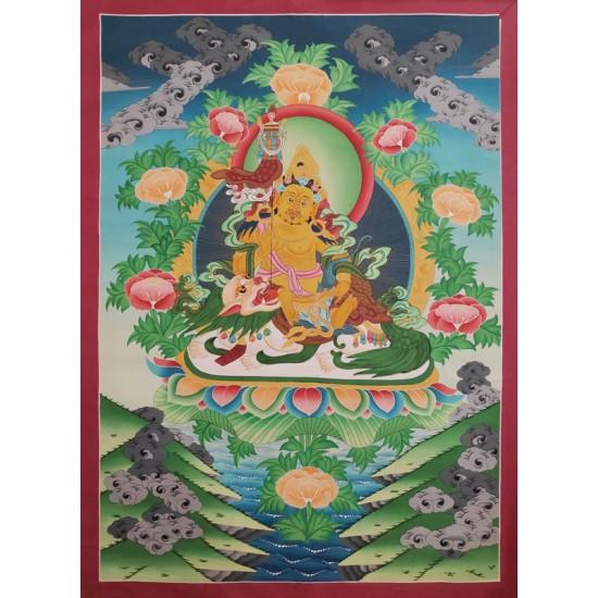 """Kuber Tibetan Thangka Painting 29"""" W x 40"""" H"""