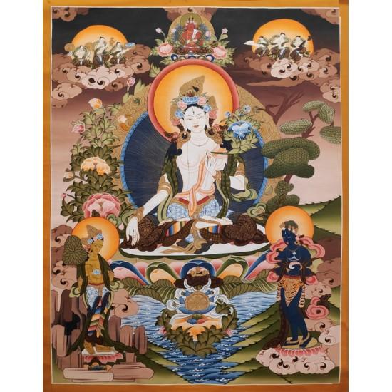 "White Tara Tibetan Thangka Painting 29"" W x 40"" H"