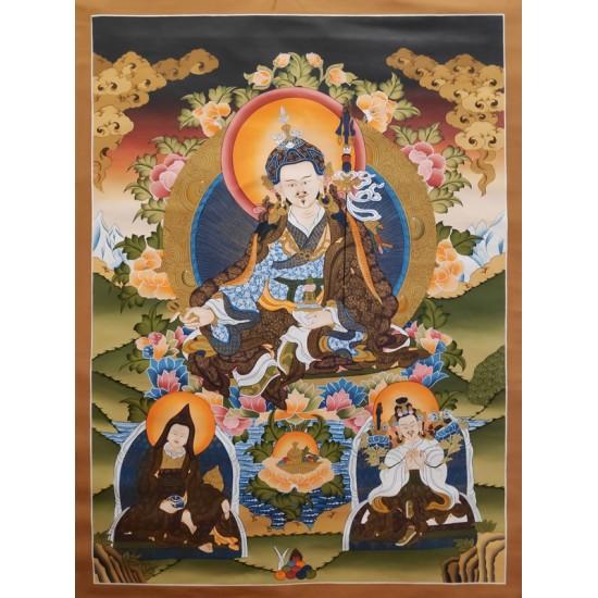 """Guru Padmasambhava Tibetan Thangka Painting 30"""" W x 40"""" H"""
