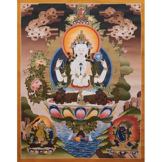 "Khacheri Tibetan Thangka Painting 29"" W x 39"" H"