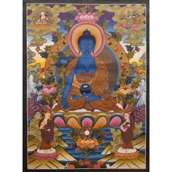 "Medicine Buddha Tibetan Thangka Painting 27"" W x 37"" H"