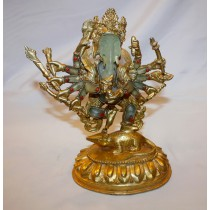 Crystal Gold Plated 12 Hand Ganesh Statue