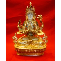 "Crystal Khacheri Copper Gold Gild Statue 5.5"" W x 8.5"" H"