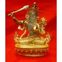 Crystal Majushree Copper Gold Gild Statue