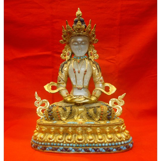 "Crystal Aparmita Copper Gold Gilt Statue 9.5"" W x 12.5"" H"