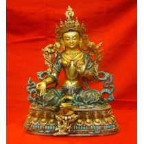 "Green Tara Copper Gold Gild Statue 9.5"" W x 13"" H"