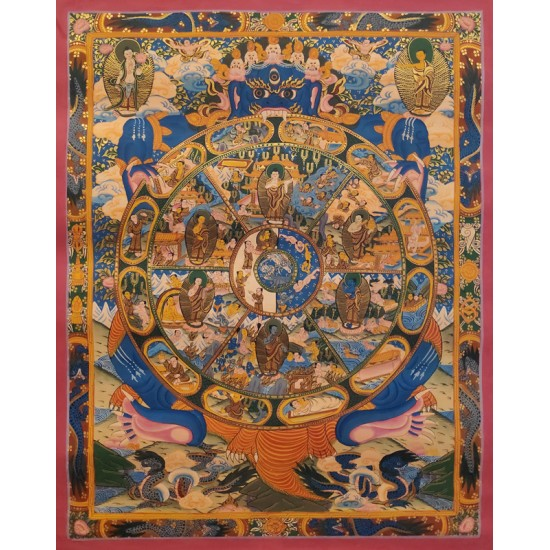 "Wheel of Life Tibetan Thangka Painting 17.5"" W x 21.5"" H"