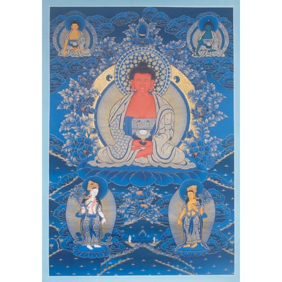 "Amitabha Buddha Tibetan Thangka Painting 22.5"" W x 32.5"" H"