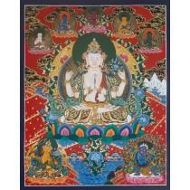 "Khacheri Tibetan Thangka Painting 24"" W x 30"" H"