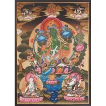 """Green Tara Tibetan Thangka Painting 19.5"""" W x 28.5"""" H"""