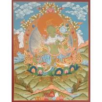 """Green Tara Tibetan Thangka Painting 20.5"""" W x 26.5"""" H"""