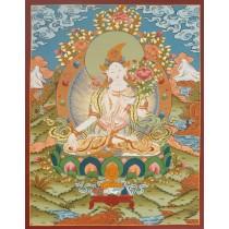 "White Tara Tibetan Thangka Painting 20.5"" W x 26.5"" H"