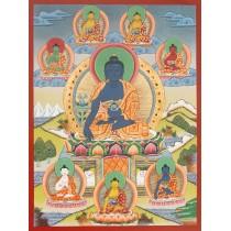 "Medicine Buddha Tibetan Thangka Painting 20.5"" W x 26.5"" H"