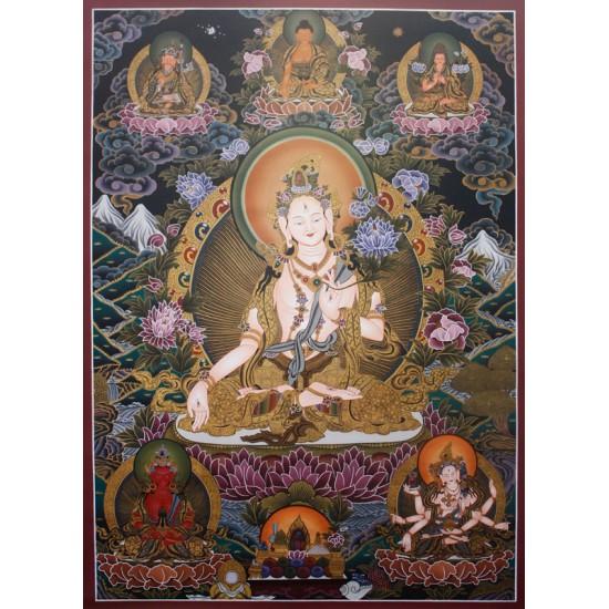 "White Tara Tibetan Thangka Painting 31"" W x 43"" H"