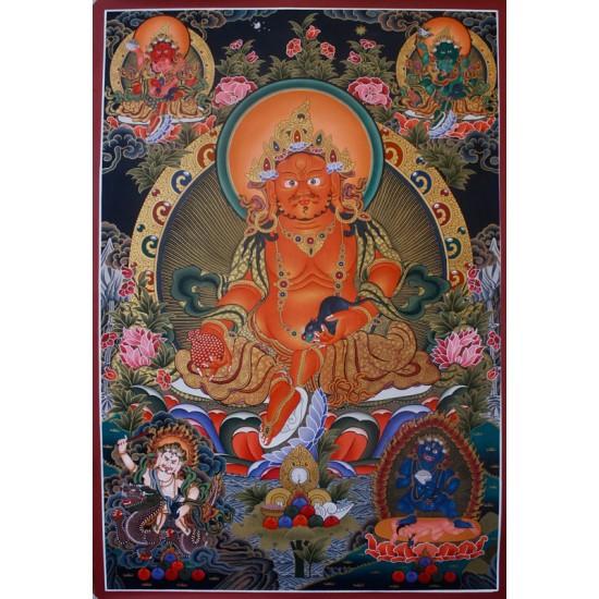 """Kuber Tibetan Thangka Painting 31"""" W x 43"""" H"""